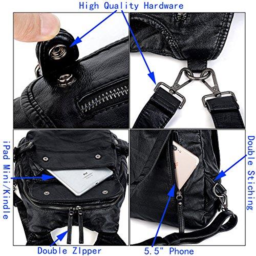 UTO Damen Rücksack Purse PU gewaschen Leder Tassel Reißverschluss Mädchen Rucksack Schultertasche schwarz __schwarz