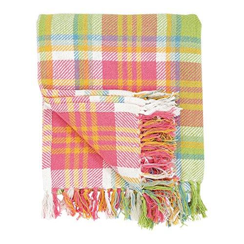Überwurf Decke, 100% Baumwolle, gewebt Plaid Muster in Shades of Pink Orange Grün Blau Weiß mit Quasten, Palm Plaid, C & F Home - Grünes Plaid-muster