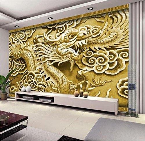 Yonthy 3D Mural papel pintado Etiqueta de la pared Fondo de sofá de relieve de color Dragon TV para el hogar Dormitorio Sala de estar Decoracion 400cmX300cm|157.48(in) X118.11(in)