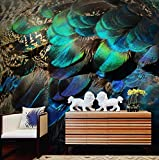 Murales de papel tapiz de pavo real en 3D no tejido entrada arte fondo papel tapiz, 430 × 280 cm