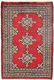 CarpetFine: Pakistan Buchara 2ply Teppich 64x94 Rot - Handgeknüpft - Ornament