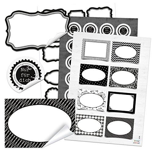 SET 16 + 48 + 34 schwarz weiß Geschenkaufkleber Geschenketiketten blanko leer Etiketten Namensschilder Beschriftung Namensaufkleber Namensetiketten Weihnachten Haushalt Küche Gewürzetiketten (Leer Namensschild)