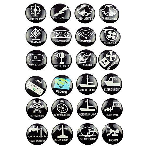 24 Schaltsymbole Aufkleber für Schalter Boot