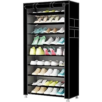 songmics 10 tier shoe rack cabinet for 27 pairs of shoes standing rh amazon co uk Cheap DIY Shelves Cheap DIY Shelves