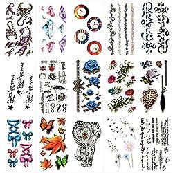 Oottati 15 Hojas Pequeñas Cute Tatuajes Temporales Escorpión Reloj Rompecabezas Azul Rosa Elefante Diente León Arce