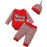 Geagodelia Conjunto de ropa de Navidad para bebé, para niña, de manga larga, body de Navidad, pantalón y gorro, para recién n