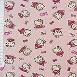 Hello Kitty Jerseystoff Baumwolljersey Lizenzstoff Ballerina Dreams Dots rosa 140cm
