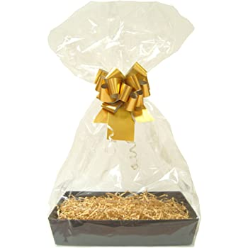 XMAS Snowflake Cardboard Tray Shred Bag Bow GOLD DIY Gift Basket Hamper Kit