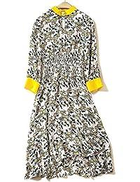 3dee628456f2 YYD  Robe pour Femme Jaune V Cou Taille élastique Jupe Irrégulière en Soie  Mince Splice Print Robe de Rue…