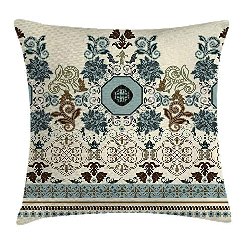 Paisley Decor Throw Pillow Cushion Cover, Floral Pattern in Royal Style Ornaments with Striped Signature Borders, Decorative Square Accent Pillow Case, 18 X 18 inches, Multi Colored - Royal Castle Violett