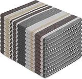 normani 10 x Halbleinen Geschirrhandtuch Farbe Toffee Stripe/Grau Größe 60 x 80 cm