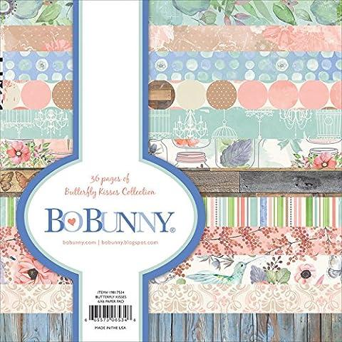 BoBunny Bo Bunny simple face papier Pad 15x 15cm 3butterfly Kisses, 12dessins/3chaque, acrylique, multicolore, 3pièces