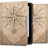 kwmobile Hülle für Tolino Vision 1 / 2 / 3 / 4 HD - Flipcover Case eReader Schutzhülle - Bookstyle Klapphülle Kompass Barock Design Dunkelbraun Beige