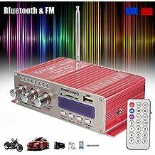 Amplificatore auto stereo, ELEGIANT 12V Mini Hi-Fi Amplificatore Auto Bluetooth Stereo MP3 Amplificatore Audio Stereo Amplificatore Amp Amplificatore Auto Bass Booster Radio MP3 MP3 FM Amplificatore per Auto Motor CD DVD Rosso - Amplificatore Di Alimentazione Di Progettazione