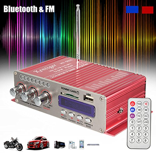 Amplificatore auto stereo, ELEGIANT 12V Mini Hi-Fi Amplificatore Auto Bluetooth Stereo MP3 Amplificatore Audio Stereo Amplificatore Amp Amplificatore Auto Bass Booster Radio MP3 MP3 FM Amplificatore per Auto Motor CD DVD Rosso