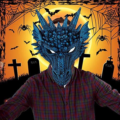 Störende Kostüm - presentimer Festliche 3D Animal Dragon Maske Cosplay Kostüm Halloween Party Maskerade Zubehör komfortable weiche und Nicht störende Geruch Universal Größe-blau