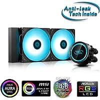 "DEEPCOOL GAMMAXX L240 V2 RGB AIO Cooler with ""Anti-Leak Tech Inside"" System, Motherboard Control RGB SYNC Ultra-Bright…"