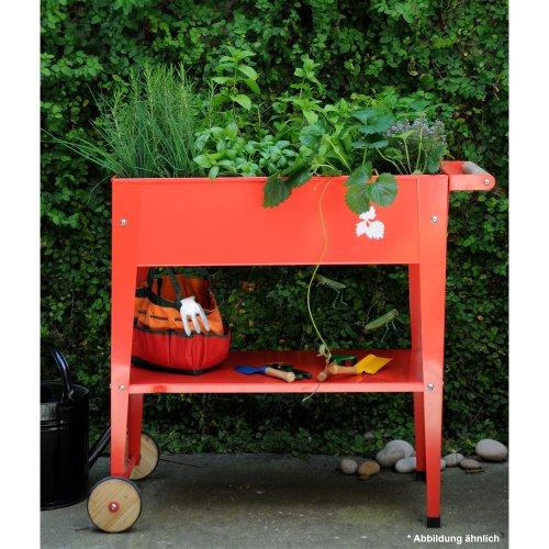 Herstera Garden Pflanztrolley/Hochbeet 75x35x80 cm mit Rollen in Farbe Lime Green