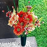 TRI Grab Strauß, Trauer Strauß Grabblumen Grabschmuck, Blumen aus Polyester, Kunstblumen-Arrangement, 50 cm