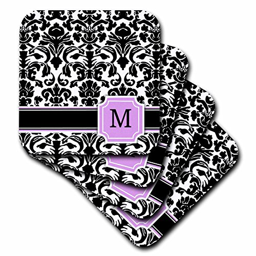 Und Damast Tischsets Weiß Schwarz (inspirationzstore Monogramme–Persönlichen Initiale M Monogramm Pink Schwarz und Weiß Damast Muster Girly Stilvolle Personalisierte Brief–Untersetzer, Gummi, schwarz, set-of-8-Soft)