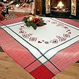 Stickpackung Rote Tanne mit Herzen, Komplettes Vorgezeichnetes Kreuzstich Tischdecken Set, Stickset mit Stickvorlage für Erwachsene, Sticken zur Adventszeit und Weihnachten