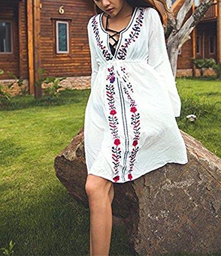 Ruiying Damen Boho Handstickerei Strandkleid Bikini Cover Up Weiß Bluse Sommerkleider Strandponcho Kittel Minikleid Weiß 1