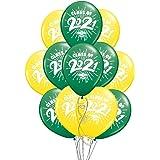 "School Colors Graduation 11"" Latex Balloons - Pack of 12 (2021, Green & Yellow)"
