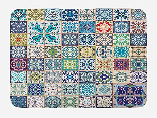 Vercxy Marokkanischer Badteppich, Blumenmuster Patchwork-Design mit Arabesque Figur, Symbol-, Plüsch-/Matte mit Rutschfeste Unterlage. 23,6