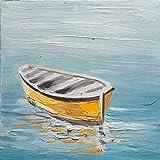 f8934c9a5f BUBOLA quadro azzurro dipinto a mano barca gialla mare particolari a rilievo  DIPIW605 30x30