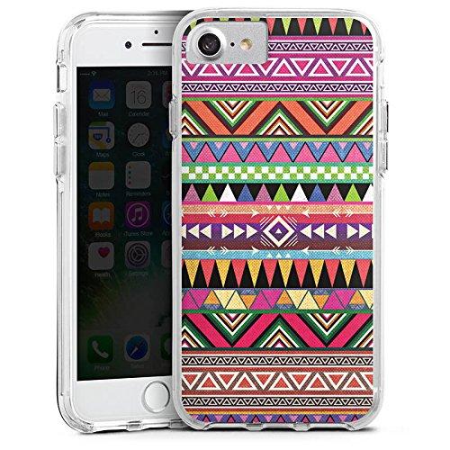 Apple iPhone 7 Bumper Hülle Bumper Case Glitzer Hülle Tribal Bunt Colourful Bumper Case transparent