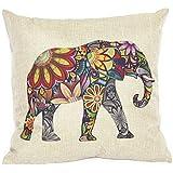 Housse de Coussin Motif de l'Eléphant en Coton Mélange de Lin Décoration pour Maison