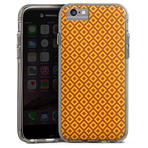 Apple iPhone 6s Bumper Hülle Bumper Case Glitzer Hülle Diamond Rauten Orange Bumper Case transparent grau