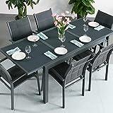 Conjunto de mesa Daisy y 6 sillas, mesa extensible de 2 m, para exterior , aluminio, Gris, Georgia Chairs