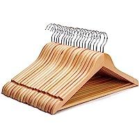 J.S. Hanger Cintre en bois solide multifonctionnel, pour costumes, vestons, manteaux, chemises et blouses, qualité…