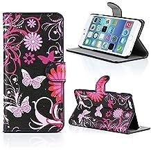 "Kit Me Out ES Funda estampada apertura lateral cuero sintético para Apple iPhone 6 Plus 5.5"" pulgadas - Negro, rosa Jardín"
