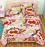 #9: The Intellect Bazaar 100% Pure Cotton Shinchan Cartoon Double DuvetCover(90*90 inhes) for Kids, Pink