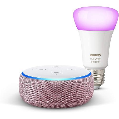 Echo Dot (3ª gen) - Tessuto malva + Lampadine intelligenti a LED Philips Hue Color, compatibili con Bluetooth e Zigbee (non è necessario un hub), compatibile con Alexa