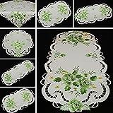 Rosen Mitteldecke Tischdecke Tischläufer Decke weiß mit grün Blume Stickerei - Größe wählbar (ca. 30 cm Rund)