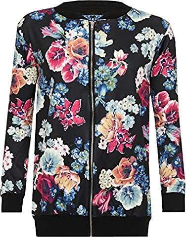 WEARALL Femmes Grande Taille Floral Imprimer Rose Bomber Bombardier Veste Manches Longues Zip Manteau Varsity - Noir - 44