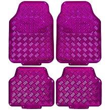 Auto-Fußmatten Universal Rosa SchwarzPkw Automatten Set Velours Teppiche Pink