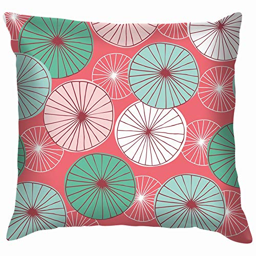 beautiful& Mid Century Modern Hand Drawn Floral Pillow Case Throw Pillow Cover Square Cushion Cover 18X18 Inch -