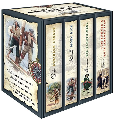 r der Abenteuerliteratur (im Schuber) - Robinson Crusoe - Moby Dick - Die Schatzinsel - Tom Sawyer & Huckleberry Finn ()
