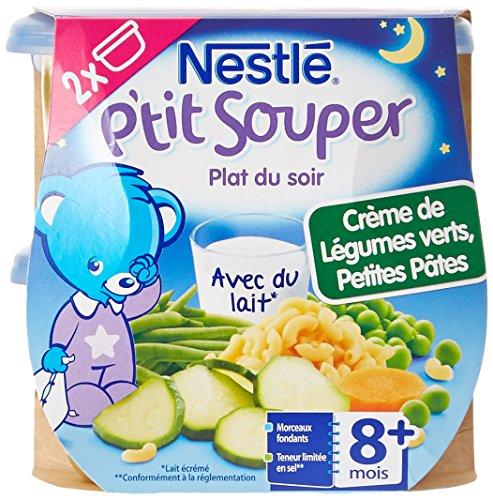 Nestlé Bébé P'tit Souper Bol de la Crème de Légumes Verts Petites Pâtes dès 8 mois 2 x 200g  - Lot de 4