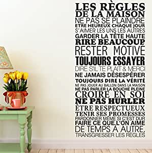 sticker mural les r gles de la maison 61x120 cm noir cuisine maison. Black Bedroom Furniture Sets. Home Design Ideas