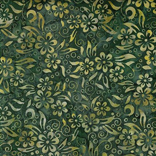 Fabric Freedom Flasche, Grün, Bali Design mit 100% Baumwolle Muster Batik gebatikt, Stoff für Patchwork- und Quilt- und Bastelarbeiten (Preis pro Viertel-Meter) -