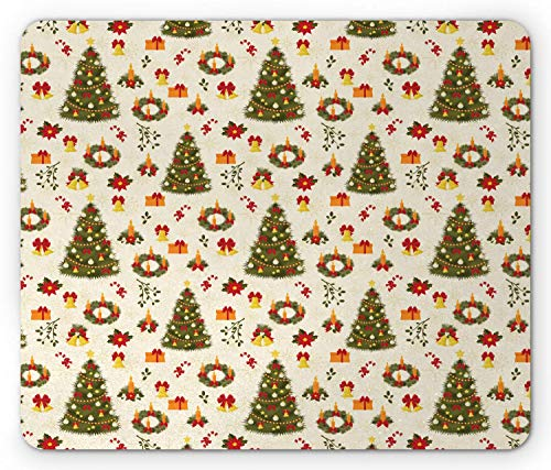 Fir Multi Color Christmas Tree (SHAQ Christmas Mouse Pad Mauspads, Fir Tree Garland and Bells Festive Ornaments Xmas Themed Cartoon Seasonal Holiday, Standard Size Rectangle Non-Slip Rubber Mousepad, Multicolor)