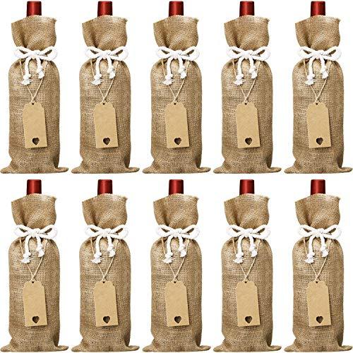 41e188510 Bolsas de vino de yute, 14 x 5,8 pulgadas, bolsas de vino reutilizables con  cuerdas de algodón y etiquetas.