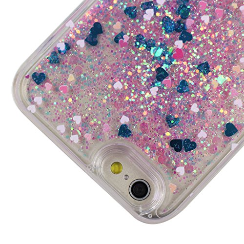 Liquid iphone 6 case, Asnlove 2 en 1 Étui Coque Liquide Cadre TPU Transparent con Plastique Rigide Couverture Arrière Cover Protection Quicksand Paillettes Liquid Case Pour Apple iPhone 6/6S Design Am Color-4