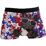 ZZKKO Bulldog American Flag Star Boxer Boxer Boxer da uomo traspirante elasticizzato con sacchetto S-XL