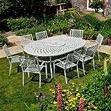Gartengarnitur Aluminium Gartenmöbel Set Rosemary 210 x 150cm Weiße Sitzgruppe - Ovaler Gartentisch ROSEMARY Weiß + 8 Weiße MARIA Stühle